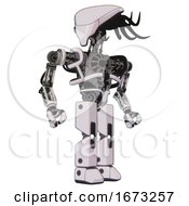 Bot Containing Flat Elongated Skull Head And Cables And Heavy Upper Chest And No Chest Plating And Prototype Exoplate Legs White Halftone Toon Hero Pose