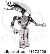 Bot Containing Flat Elongated Skull Head And Cables And Heavy Upper Chest And No Chest Plating And Prototype Exoplate Legs White Halftone Toon Interacting