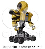 Cyborg Containing Round Head And Heavy Upper Chest And Heavy Mech Chest And Blue Energy Fission Element Chest And Six Wheeler Base Construction Yellow Halftone Facing Left View