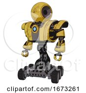 Cyborg Containing Round Head And Heavy Upper Chest And Heavy Mech Chest And Blue Energy Fission Element Chest And Six Wheeler Base Construction Yellow Halftone Standing Looking Right Restful Pose