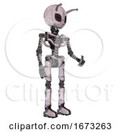 Robot Containing Grey Alien Style Head And Black Eyes And Bug Antennas And Light Chest Exoshielding And No Chest Plating And Ultralight Foot Exosuit Sketch Pad Doodle Lines Facing Left View