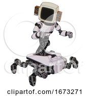 Mech Containing Old Computer Monitor And Old Retro Speakers And Light Chest Exoshielding And Chest Green Blue Lights Array And Insect Walker Legs White Halftone Toon Fight Or Defense Pose