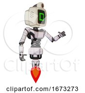 Bot Containing Old Computer Monitor And Pixel Square Design And Retro Futuristic Webcam And Light Chest Exoshielding And Ultralight Chest Exosuit And Jet Propulsion White Halftone Toon Interacting