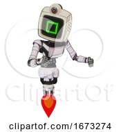 Bot Containing Old Computer Monitor And Pixel Square Design And Retro Futuristic Webcam And Light Chest Exoshielding And Ultralight Chest Exosuit And Jet Propulsion White Halftone Toon