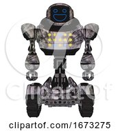 Automaton Containing Digital Display Head And Wide Smile And Heavy Upper Chest And Colored Lights Array And Tank Tracks Scribble Sketch Front View