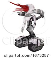 Poster, Art Print Of Mech Containing Bright Red Jellyfish Tentacles Fiber Optic Design And Light Chest Exoshielding And Ultralight Chest Exosuit And Minigun Back Assembly And Tank Tracks White Halftone Toon