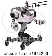 Robot Containing Dual Retro Camera Head And Wireless Internet Transmitter Head And Heavy Upper Chest And Insect Walker Legs White Halftone Toon Interacting