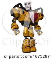 Droid Containing Humanoid Face Mask And Skeleton War Paint And Heavy Upper Chest And Red Shield Defense Design And Light Leg Exoshielding And Spike Foot Mod Worn Construction Yellow Hero Pose