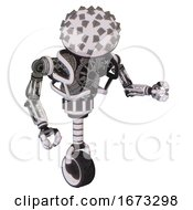 Automaton Containing Metal Cubes Dome Head Design And Heavy Upper Chest And No Chest Plating And Unicycle Wheel White Halftone Toon Fight Or Defense Pose