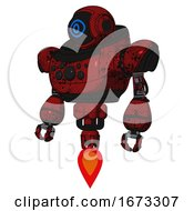 Robot Containing Digital Display Head And Large Eye And Heavy Upper Chest And Chest Compound Eyes And Jet Propulsion Grunge Dots Dark Red Standing Looking Right Restful Pose