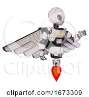 Mech Containing Grey Alien Style Head And Green Inset Eyes And Light Chest Exoshielding And Yellow Chest Lights And Pilots Wings Assembly And Jet Propulsion White Halftone Toon Interacting