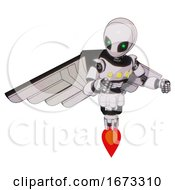 Mech Containing Grey Alien Style Head And Green Inset Eyes And Light Chest Exoshielding And Yellow Chest Lights And Pilots Wings Assembly And Jet Propulsion White Halftone Toon