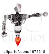 Mech Containing Humanoid Face Mask And Die Robots Graffiti Design And Heavy Upper Chest And No Chest Plating And Jet Propulsion White Halftone Toon Pointing Left Or Pushing A Button