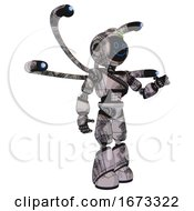 Mech Containing Digital Display Head And Happy Face And Green Led Array And Light Chest Exoshielding And Rubber Chain Sash And Blue Eye Cam Cable Tentacles And Light Leg Exoshielding Scribble Sketch