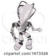 Robot Containing Flat Elongated Skull Head And Cables And Heavy Upper Chest And No Chest Plating And Light Leg Exoshielding White Halftone Toon Fight Or Defense Pose