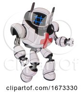 Cyborg Containing Digital Display Head And Hashtag Face And Winglets And Heavy Upper Chest And First Aid Chest Symbol And Light Leg Exoshielding White Halftone Toon Fight Or Defense Pose