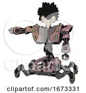 Bot Containing Bird Skull Head And Bone Skull Eye Holes And Crow Feather Design And Heavy Upper Chest And Heavy Mech Chest And Green Cable Sockets Array And Insect Walker Legs Powder Pink Metal