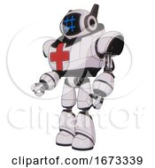 Cyborg Containing Digital Display Head And Hashtag Face And Winglets And Heavy Upper Chest And First Aid Chest Symbol And Light Leg Exoshielding White Halftone Toon Facing Right View