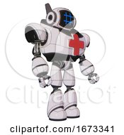 Cyborg Containing Digital Display Head And Hashtag Face And Winglets And Heavy Upper Chest And First Aid Chest Symbol And Light Leg Exoshielding White Halftone Toon Facing Left View