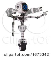 Bot Containing Digital Display Head And Large Eye And Light Chest Exoshielding And Minigun Back Assembly And No Chest Plating And Unicycle Wheel White Halftone Toon