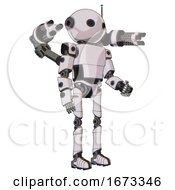 Robot Containing Oval Wide Head And Retro Antenna With Light And Light Chest Exoshielding And Prototype Exoplate Chest And Minigun Back Assembly And Ultralight Foot Exosuit White Halftone Toon