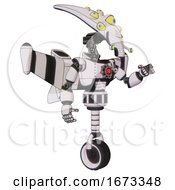 Android Containing Flat Elongated Skull Head And Yellow Eyeball Array And Light Chest Exoshielding And Red Energy Core And Stellar Jet Wing Rocket Pack And Unicycle Wheel White Halftone Toon