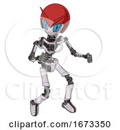 Droid Containing Grey Alien Style Head And Blue Grate Eyes And Red V And Red Helmet And Light Chest Exoshielding And No Chest Plating And Ultralight Foot Exosuit White Halftone Toon