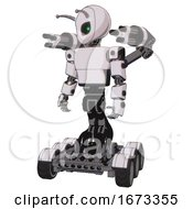 Android Containing Grey Alien Style Head And Green Inset Eyes And Bug Antennas And Light Chest Exoshielding And Prototype Exoplate Chest And Minigun Back Assembly And Six Wheeler Base