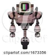 Automaton Containing Old Computer Monitor And Please Stand By Pixel Design And Old Retro Speakers And Heavy Upper Chest And Unicycle Wheel Powder Pink Metal Front View