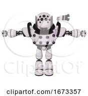 Droid Containing Round Head And Bug Eye Array And Heavy Upper Chest And Chest Energy Sockets And Light Leg Exoshielding White Halftone Toon T Pose