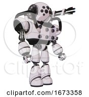 Droid Containing Round Head And Bug Eye Array And Heavy Upper Chest And Chest Energy Sockets And Light Leg Exoshielding White Halftone Toon Facing Left View