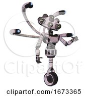 Mech Containing Many Robo Eye Domehead Design And Light Chest Exoshielding And Ultralight Chest Exosuit And Blue Eye Cam Cable Tentacles And Unicycle Wheel Sketch Pad Dirty Smudge Interacting