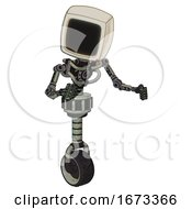 Droid Containing Old Computer Monitor And Light Chest Exoshielding And No Chest Plating And Unicycle Wheel Green Metal Fight Or Defense Pose