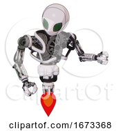 Bot Containing Grey Alien Style Head And Led Array Eyes And Heavy Upper Chest And No Chest Plating And Jet Propulsion White Halftone Toon Fight Or Defense Pose