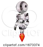 Droid Containing Round Head And Maru Eyes And Light Chest Exoshielding And Chest Valve Crank And Jet Propulsion White Halftone Toon Facing Right View