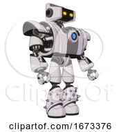 Bot Containing Dual Retro Camera Head And Retro Tech Device Head And Heavy Upper Chest And Heavy Mech Chest And Blue Energy Fission Element Chest And Light Leg Exoshielding And Spike Foot Mod