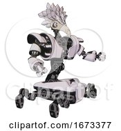 Mech Containing Bird Skull Head And White Eyeballs And Bird Feather Design And Heavy Upper Chest And Heavy Mech Chest And Insect Walker Legs White Halftone Toon Interacting