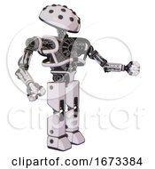 Robot Containing Black Sphere Cam Design And Heavy Upper Chest And No Chest Plating And Prototype Exoplate Legs White Halftone Toon Interacting