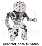 Robot Containing Black Sphere Cam Design And Heavy Upper Chest And No Chest Plating And Prototype Exoplate Legs White Halftone Toon Fight Or Defense Pose