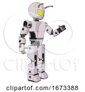 Droid Containing Grey Alien Style Head And Yellow Eyes And Bug Antennas And Light Chest Exoshielding And Prototype Exoplate Chest And Prototype Exoplate Legs White Halftone Toon Interacting