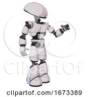 Robot Containing Dome Head And Light Chest Exoshielding And Chest Green Blue Lights Array And Light Leg Exoshielding White Halftone Toon Interacting
