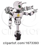 Droid Containing Grey Alien Style Head And Led Array Eyes And Bug Antennas And Light Chest Exoshielding And Yellow Star And Minigun Back Assembly And Unicycle Wheel White Halftone Toon