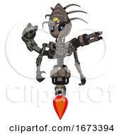 Mech Containing Grey Alien Style Head And Electric Eyes And Eyeball Creature Crown And Light Chest Exoshielding And Minigun Back Assembly And No Chest Plating And Jet Propulsion Patent Khaki Metal