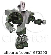 Bot Containing Humanoid Face Mask And Skeleton War Paint And Heavy Upper Chest And Heavy Mech Chest And Green Cable Sockets Array And Light Leg Exoshielding And Spike Foot Mod Old Corroded Copper