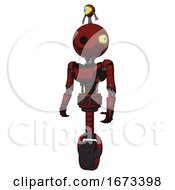 Android Containing Oval Wide Head And Minibot Ornament And Light Chest Exoshielding And Ultralight Chest Exosuit And Unicycle Wheel Matted Red Standing Looking Right Restful Pose