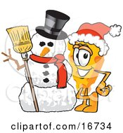 Wedge Of Orange Swiss Cheese Mascot Cartoon Character Wearing A Santa Hat And Standing Beside A Snowman On Christmas