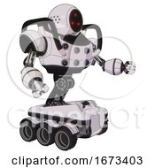 Automaton Containing Three Led Eyes Round Head And Heavy Upper Chest And Chest Energy Sockets And Six Wheeler Base White Halftone Toon Interacting