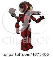 Mech Containing Oval Wide Head And Sunshine Patch Eye And Barbed Wire Cage Helmet And Light Chest Exoshielding And Red Energy Core And Minigun Back Assembly And Prototype Exoplate Legs Matted Red