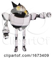 Bot Containing Bird Skull Head And Brass Steampunk Eyes And Robobeak Design And Heavy Upper Chest And Ultralight Foot Exosuit White Halftone Toon Pointing Left Or Pushing A Button