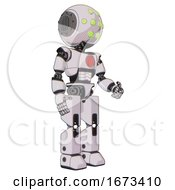 Cyborg Containing Round Head And Green Eyes Array And Light Chest Exoshielding And Red Chest Button And Prototype Exoplate Legs White Halftone Toon Facing Left View